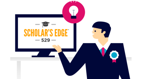 illustration of financial advisor with scholars edge 529 plan